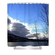 Wood Lake Sunrise Shower Curtain