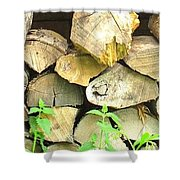 Wood Pile Shower Curtain
