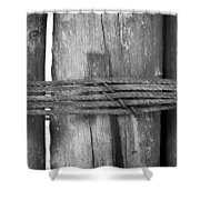 Wood Pilings Tied With Old Rusted Rope Shower Curtain