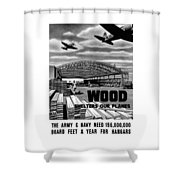 Wood Shelters Our Planes - Ww2 Shower Curtain
