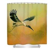 Wood Stork Encounter Shower Curtain