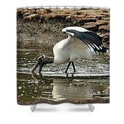 Wood Stork Fishing Shower Curtain