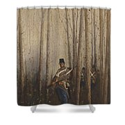 Wood With Soldiers Shower Curtain