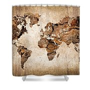 Wood World Map Shower Curtain by Delphimages Photo Creations