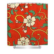 Woodblock Print Of Apple Blossoms Shower Curtain