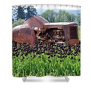Woodburn Oregon - Tractor And Field Of Tulips Shower Curtain