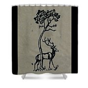Woodcut Deer Shower Curtain