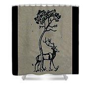 Woodcut Deer Shower Curtain