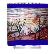 Wooded Beachfront With Fun Seekers Shower Curtain
