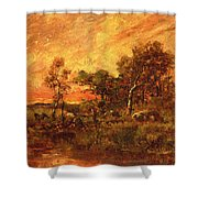 Wooded Landscape With A Faggot Gatherer Shower Curtain