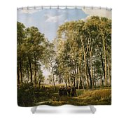 Wooded Landscape With A Group Of Figures In Costume Shower Curtain