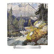 Wooded Landscape With A Path And A Mountain Beyond Shower Curtain