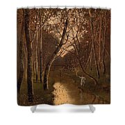 Wooded Landscape With Angler On The Riverside Shower Curtain