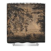 Wooded Landscape With Rainbow Shower Curtain