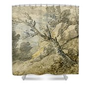 Wooded Landscape With Rocks And Tree Stump Shower Curtain