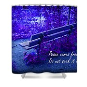 Wooden Bench With Inspirational Text Shower Curtain
