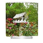 Wooden Bird House On A Pole 3 Shower Curtain