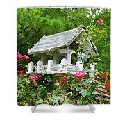 Wooden Bird House On A Pole 4 Shower Curtain