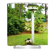 Wooden Bird House On A Pole 6 Shower Curtain by Lanjee Chee