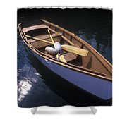 Wooden Boat And Paddles In Halibut Cove Shower Curtain