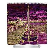Wooden Boat Moorage Shower Curtain