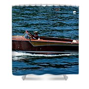 Wooden Boat Waves On Tahoe Shower Curtain