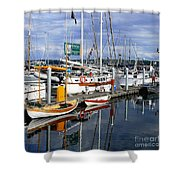 Wooden Boats On The Water Shower Curtain