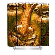 Wooden Buddha Face Shower Curtain