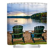 Wooden Chairs At Sunset On Beach Shower Curtain