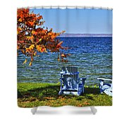 Wooden Chairs On Autumn Lake Shower Curtain