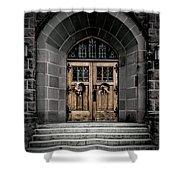 Wooden Church Door In Stone Archway Shower Curtain