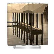 Wooden Dock In The Lake At Sunset Shower Curtain