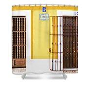 Wooden Doors In Old San Juan, Puerto Rico Shower Curtain