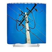 Wooden Electric Pole Shower Curtain