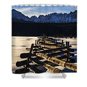 Wooden Fence And Sawtooth Mountain Range Shower Curtain