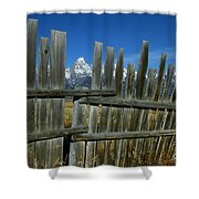 Wooden Fence, Grand Tetons Shower Curtain