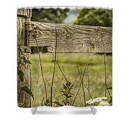 Wooden Fence Post. Shower Curtain