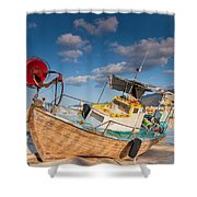 Wooden Fishing Boat On Shore Shower Curtain