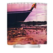Wooden Fishing Thai Boat Sunken On The Rocky Beach During Tide Shower Curtain