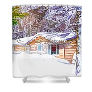 Wooden House In Winter Forest Shower Curtain
