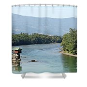 wooden house on rock Drina river Serbia Shower Curtain