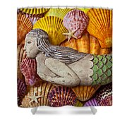 Wooden Mermaid Shower Curtain by Garry Gay