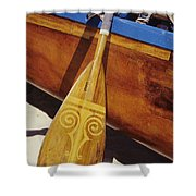 Wooden Paddle And Canoe Shower Curtain