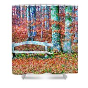 Wooden Park Bench In Dry Leaves  Shower Curtain