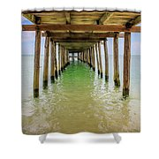 Wooden Pier Stretching Into The Sea Shower Curtain