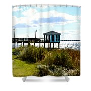 Wooden Pier With Pavilion Shower Curtain