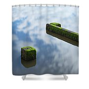 Wooden Posts At Low Tide Shower Curtain