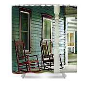 Wooden Rocking Chairs On Porch Shower Curtain