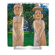 Wooden Sculptures In Central Park In Bariloche-argentina Shower Curtain
