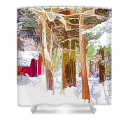 Wooden Shed In Winter Shower Curtain